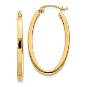14k Yellow Gold Square Tube Oval Hoop Earrings with Click-Down Clasp