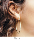 14K Yellow Gold Oval Hoop Earrings w/ Square Tube, All Sizes
