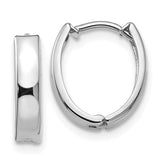 14k White Gold Oval Hinged Huggie Hoop Earrings, .50 Inches (12mm) (3mm Wide)