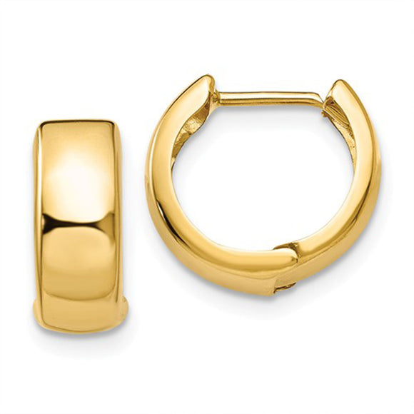 14k Yellow Gold Hinged Huggie Hoop Earrings (5mm), 1/2 inch (13mm)