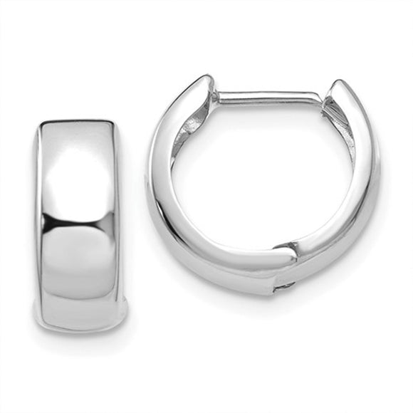 14k White Gold Hinged Huggie Hoop Earrings (5mm), 1/2 inch (13mm)