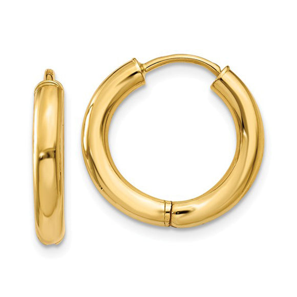 Small 14K Yellow Gold Hinged Endless Huggie Hoop Earrings, .60 In (15mm) (2.5mm Tube) - LooptyHoops