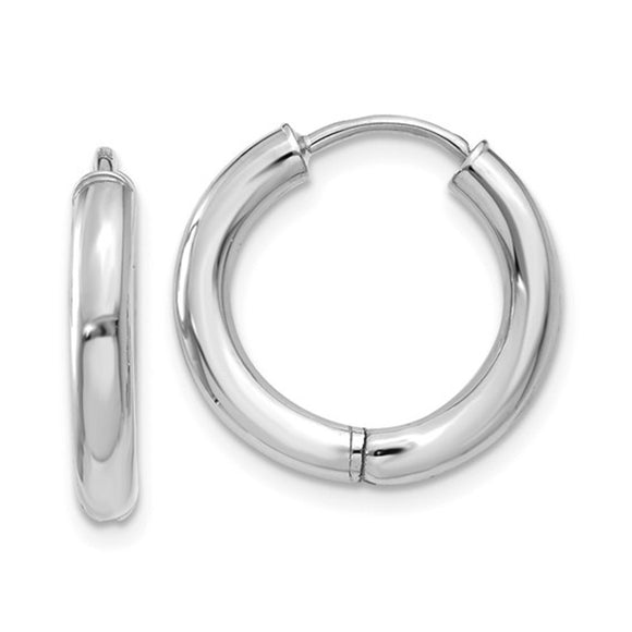 Small 14K White Gold Hinged Endless Huggie Hoop Earrings
