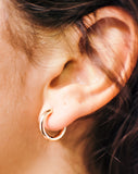 Small 14K Rose Gold Hinged Endless Huggie Hoop Earrings, .60 In (15mm) (2.5mm Tube)