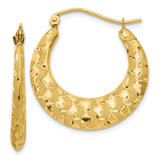 14K Yellow Gold Laser Cut Pattern Crescent Moon Hoop Earrings - LooptyHoops