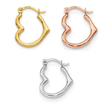 14K Gold Heart-Shaped Hoop Earrings (2mm Thick), 16mm