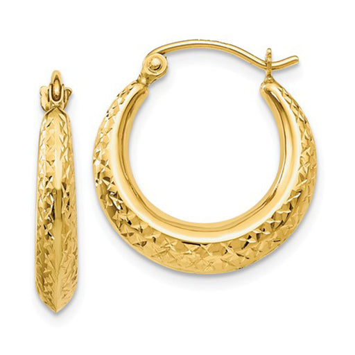 14k Yellow Gold Diamond Cut Textured Crescent Moon Hoop Earrings, 0.7 inch (17mm) - LooptyHoops