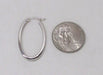 14K White Gold Oval Hoop Earrings w/ Square Tube, 1.2 In (31mm) (2mm Tube) - LooptyHoops