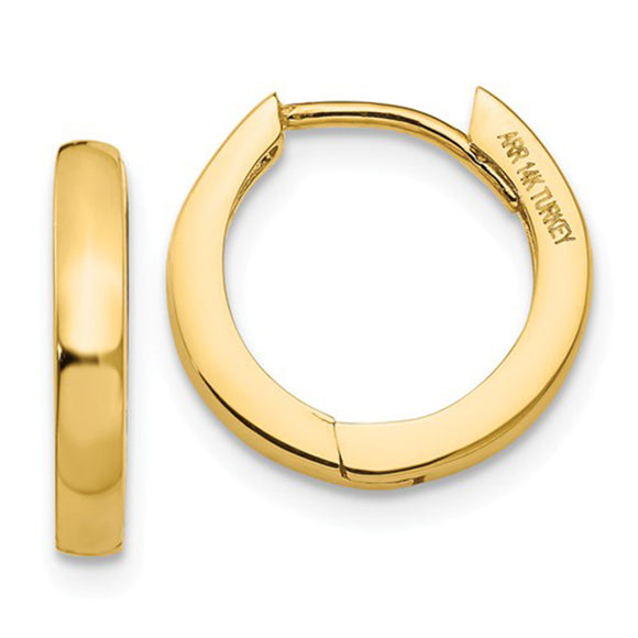 Small 14K Yellow Gold Hinged Huggie Hoop Earrings, .40 In (10mm) (2.5mm Wide) - LooptyHoops
