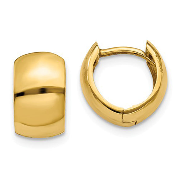 Small 14K Yellow Gold Wide Hinged Huggie Hoop Earrings .40 in (10mm) (6mm Wide) - LooptyHoops
