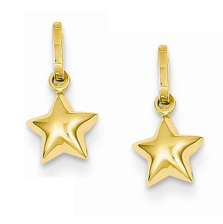 14k Yellow Gold Star Hoop Earring Charms - LooptyHoops