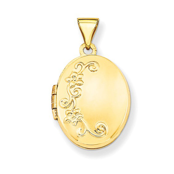 14K Yellow Gold Floral Oval Locket Pendant, 19mm x 17mm - LooptyHoops