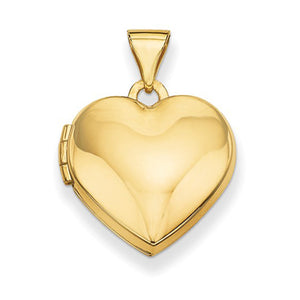 14K Yellow Gold Classic Heart Locket Pendant, 16mm x 15mm