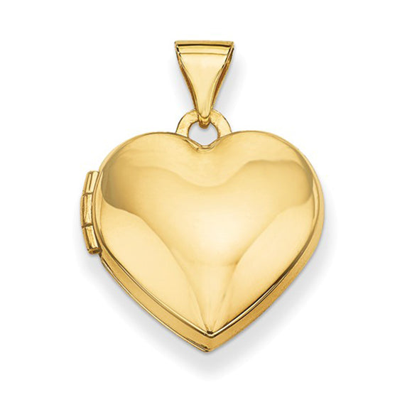14K Yellow Gold Classic Heart Locket Pendant, 16mm x 15mm - LooptyHoops