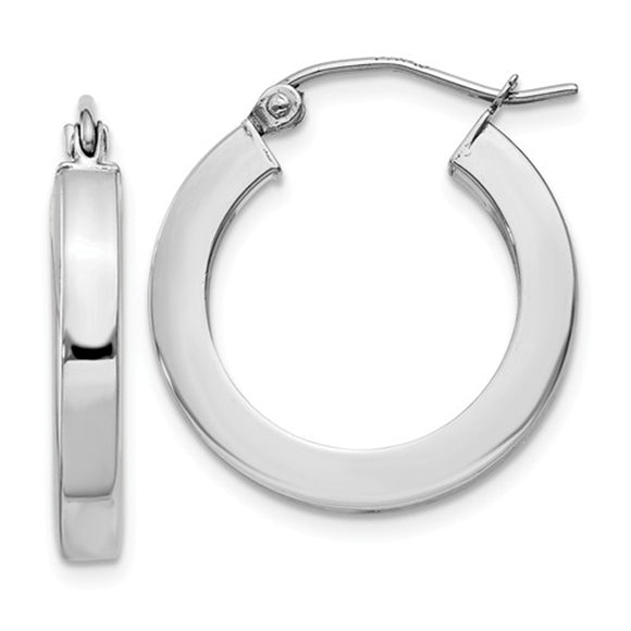 14k White Gold Square Tube Hoop Earrings (3mm), All Sizes