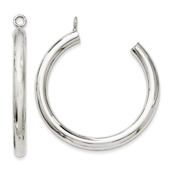 14k White Gold Round Hoop Earring Jackets