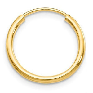 Single 14k Yellow Gold Continuous Endless Hoop Earring (1.5mm), 13mm