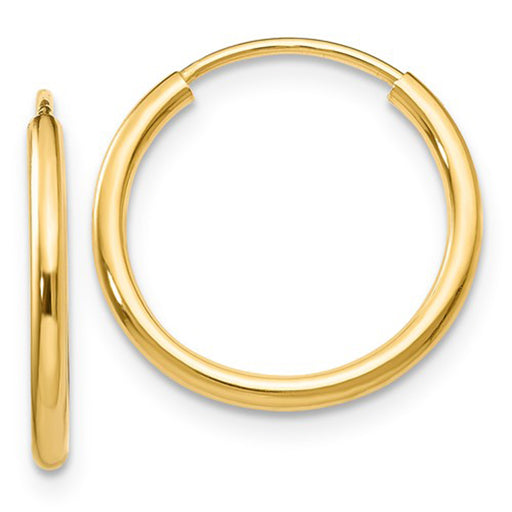 14k Yellow Gold Continuous Endless Hoop Earrings, 17mm (1.5mm) - LooptyHoops