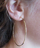 14k Yellow Gold Endless Hoop Earrings (1.5mm), All Sizes