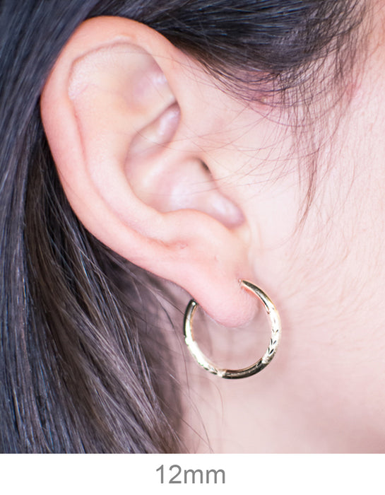 2.00 mm Diamond DC Cut Circle Hoop Earrings • Endless Details about  /14k Solid Gold • 1.50 mm