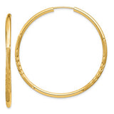 14k Yellow Gold Diamond Cut Endless Hoop Earrings (2mm), All Sizes