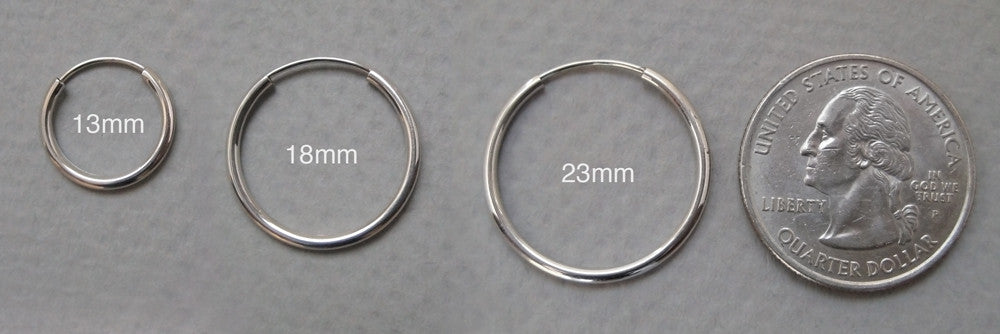 e972bf4a40691 14k White Gold Endless Hoop Earrings (1.5mm), All Sizes – LooptyHoops