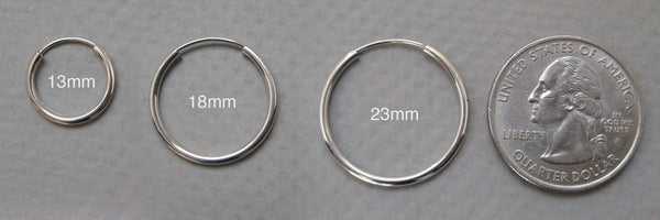 14k White Gold Endless Hoop Earrings (1.5mm), All Sizes
