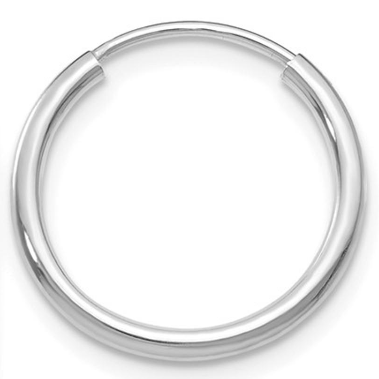 Single 14k White Gold Endless Hoop Earring (1.5mm) (16mm) - LooptyHoops