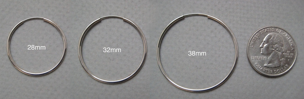 14k White Gold Endless Hoop Earrings (1.5mm), All Sizes - LooptyHoops