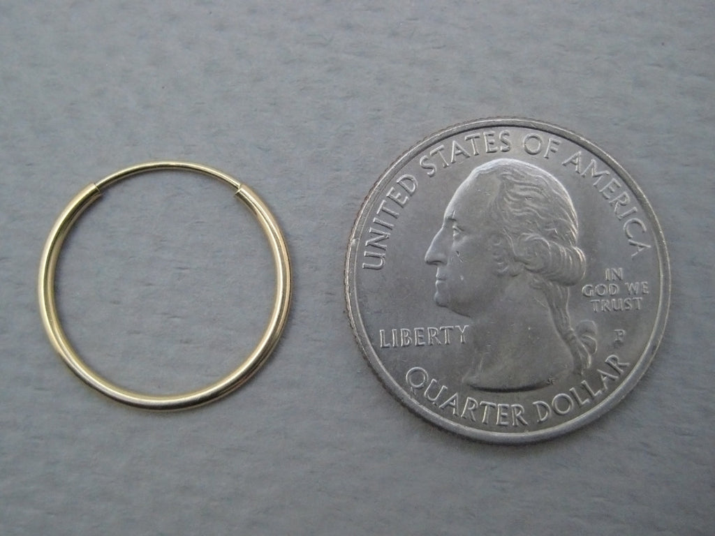 14k Yellow Gold Endless Hoop Earrings (125mm),
