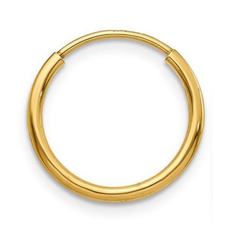 Single 14k Yellow Gold Endless Hoop Earring (1.25mm), 14mm - LooptyHoops