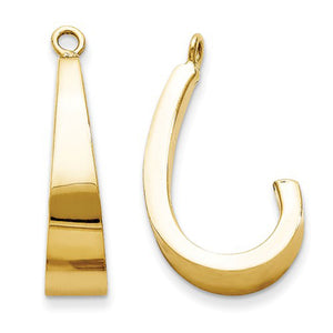 14k Yellow Gold Tapered J-Hoop Earring Jackets
