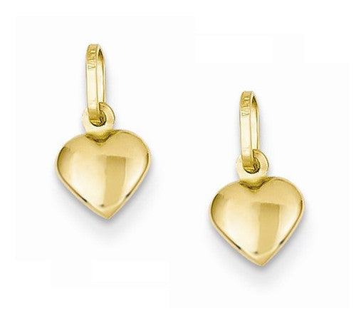 14k Yellow Gold Heart Hoop Earring Charms