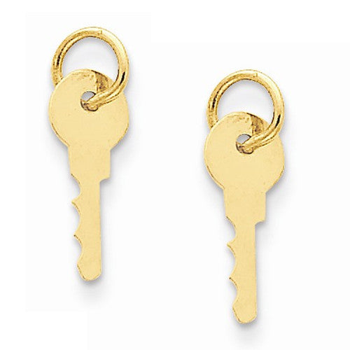 14k Yellow Gold Key Hoop Earring Charms - LooptyHoops
