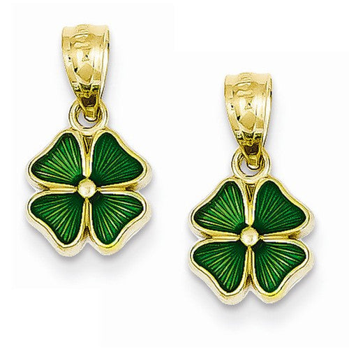14k Yellow Gold Enamel Four Leaf Clover Hoop Earring Charms