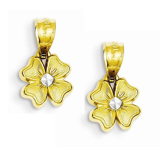 14k Yellow Gold Flower with Plated Center Hoop Earring Charms