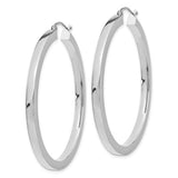 14k White Gold Square Tube Hoop Earrings (3mm), All Sizes - LooptyHoops