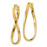 14k Yellow Gold Elegant Twisted Oval Hoop Earrings