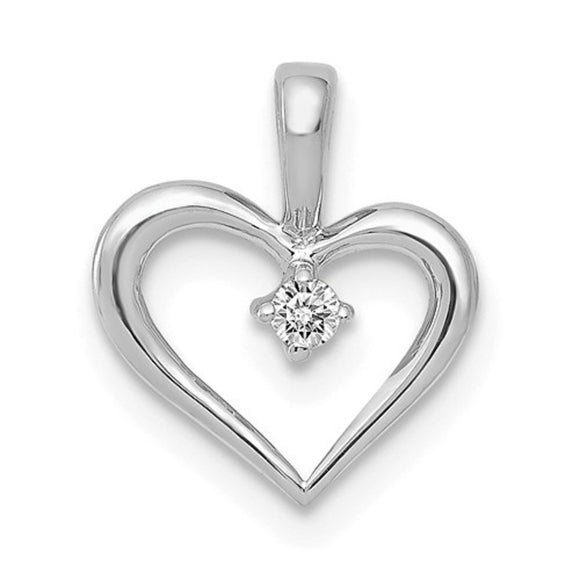 14K Gold Diamond Heart Pendant .02ct