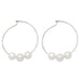 Sterling Silver Triple-Freshwater Pearl Hoop Earrings, 34mm - LooptyHoops
