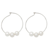 Sterling Silver Triple-Freshwater Pearl Hoop Earrings, 34mm