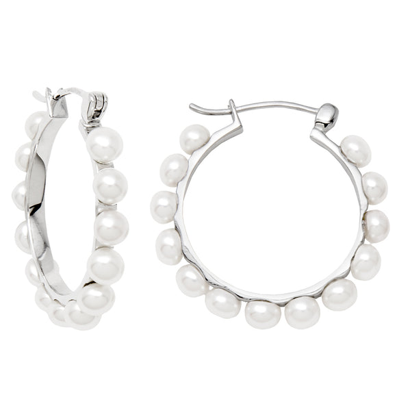Sterling Silver Freshwater Pearl Click-Down Hoop Earrings, All Sizes