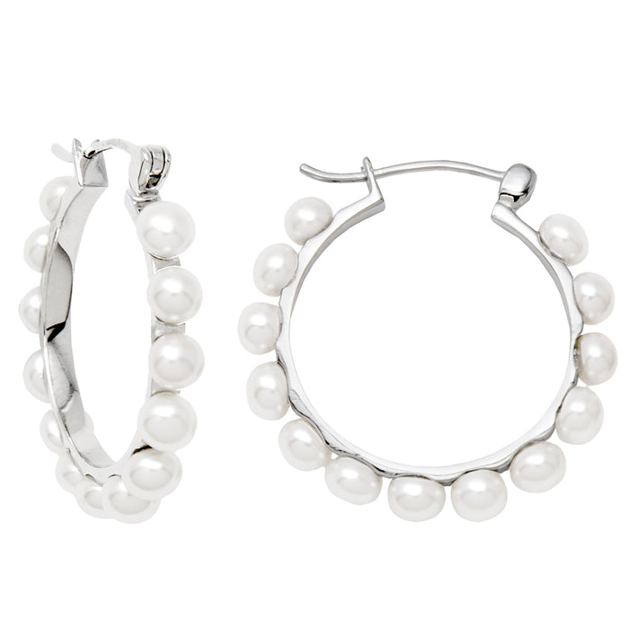 Sterling Silver Freshwater Pearl Click-Down Hoop Earrings, All Sizes - LooptyHoops