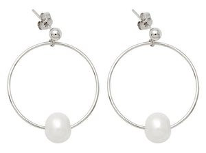 Sterling Silver Freshwater Pearl Post-Back Dangle Hoop Earrings, 28mm - LooptyHoops