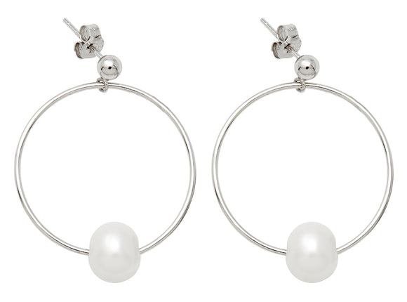 Sterling Silver Freshwater Pearl Post-Back Dangle Hoop Earrings, 28mm