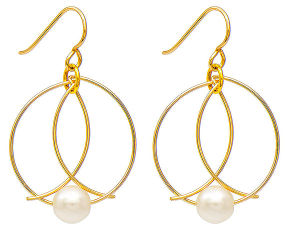 Handmade Yellow Gold-Filled Unique Faux Pearl Broken-Circle Wire Hoop Earrings w/Hook Clasp, 39mm