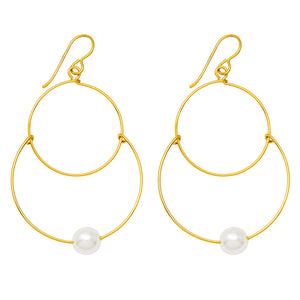 Handmade Yellow Gold-Filled Faux Pearl Dangling Hoop-and-a-Half Hoop Earrings w/Hook Clasp, 46mm