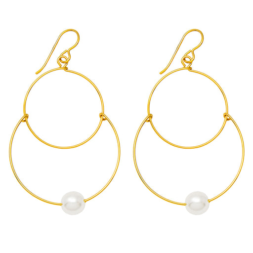 Handmade Yellow Gold-Filled Faux Pearl Dangling Hoop-and-a-Half Hoop Earrings w/Hook Clasp, 46mm - LooptyHoops