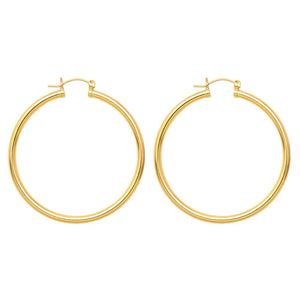 Gold-Filled Sterling Silver Click-Down Hoop Earrings (3mm Thick), All Sizes