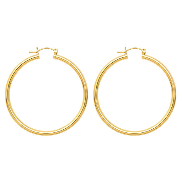 Gold-Filled Sterling Silver Click-Down Hoop Earrings (3mm Thick), All Sizes - LooptyHoops